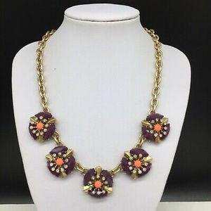 J. Crew Flower Purple Coral Statement Necklace
